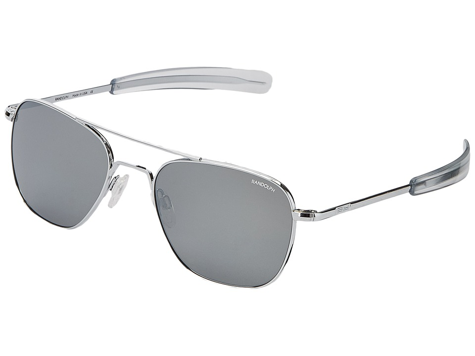 Randolph - Aviator 55mm (Bright Chrome/Gray Flash Mirror) Fashion Sunglasses