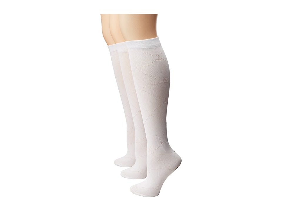 Sperry Top-Sider - Anchor Knee High 3-Pair Pack (White) Women's Knee High Socks Shoes