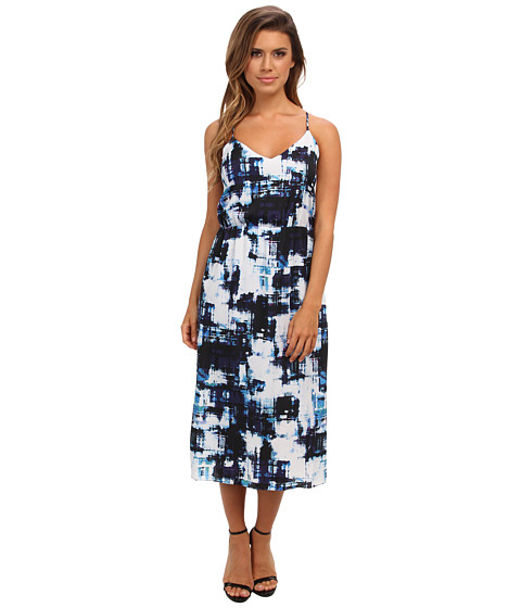 Vince Camuto - S/L Watercolor Express High Waist Dress (Rich Black) Women
