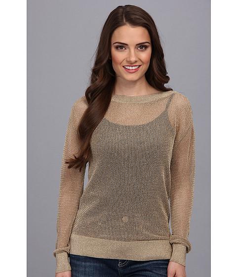 MICHAEL Michael Kors - Petite L/S Boatneck Lurex Sweater (Khaki) Women