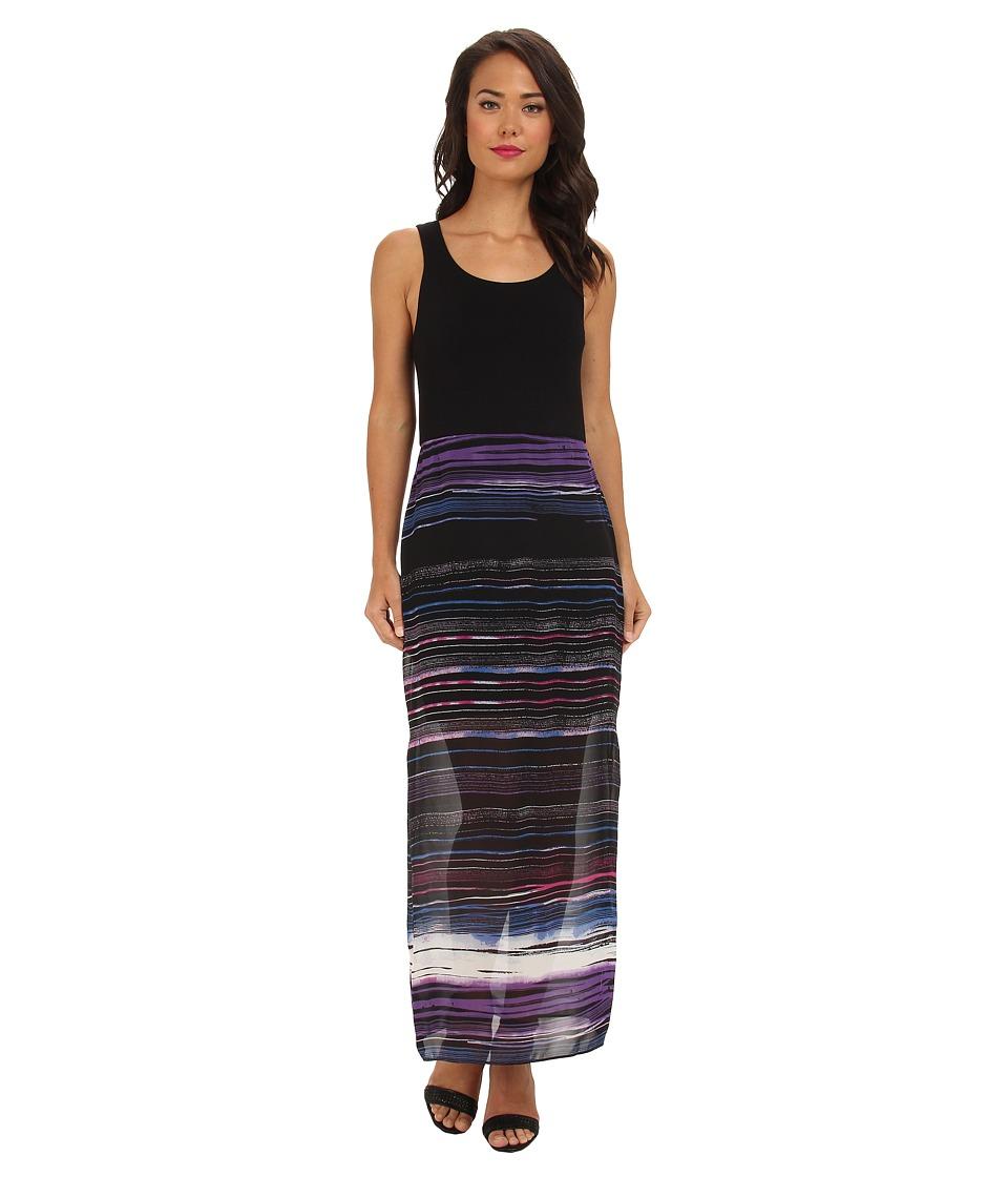 Vince Camuto - Chiffon Overlay Sweep Stripe Maxi Dress (Rich Black) Women's Dress