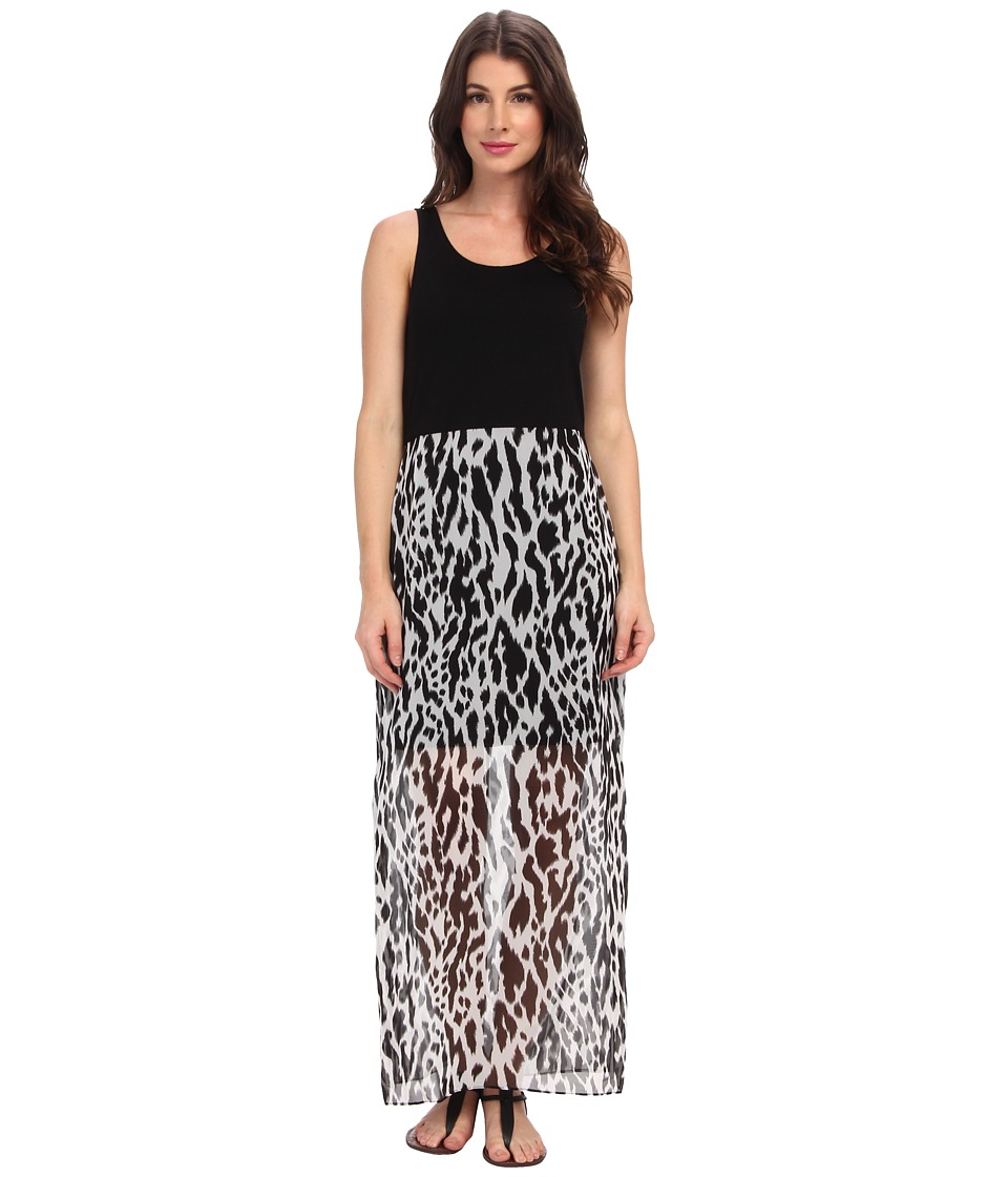 Vince Camuto - Animal Print Overlay Maxi (Rich Black) Women's Dress