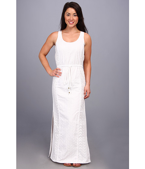 MICHAEL Michael Kors - Petite Eyelet S/L Maxi Dress (White) Women