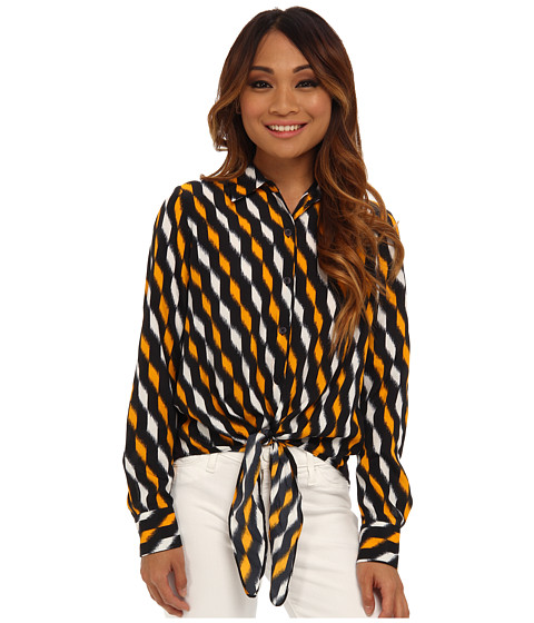 MICHAEL Michael Kors - Petite Woven Front Tie Hem Top (Vintage Yellow 1) Women