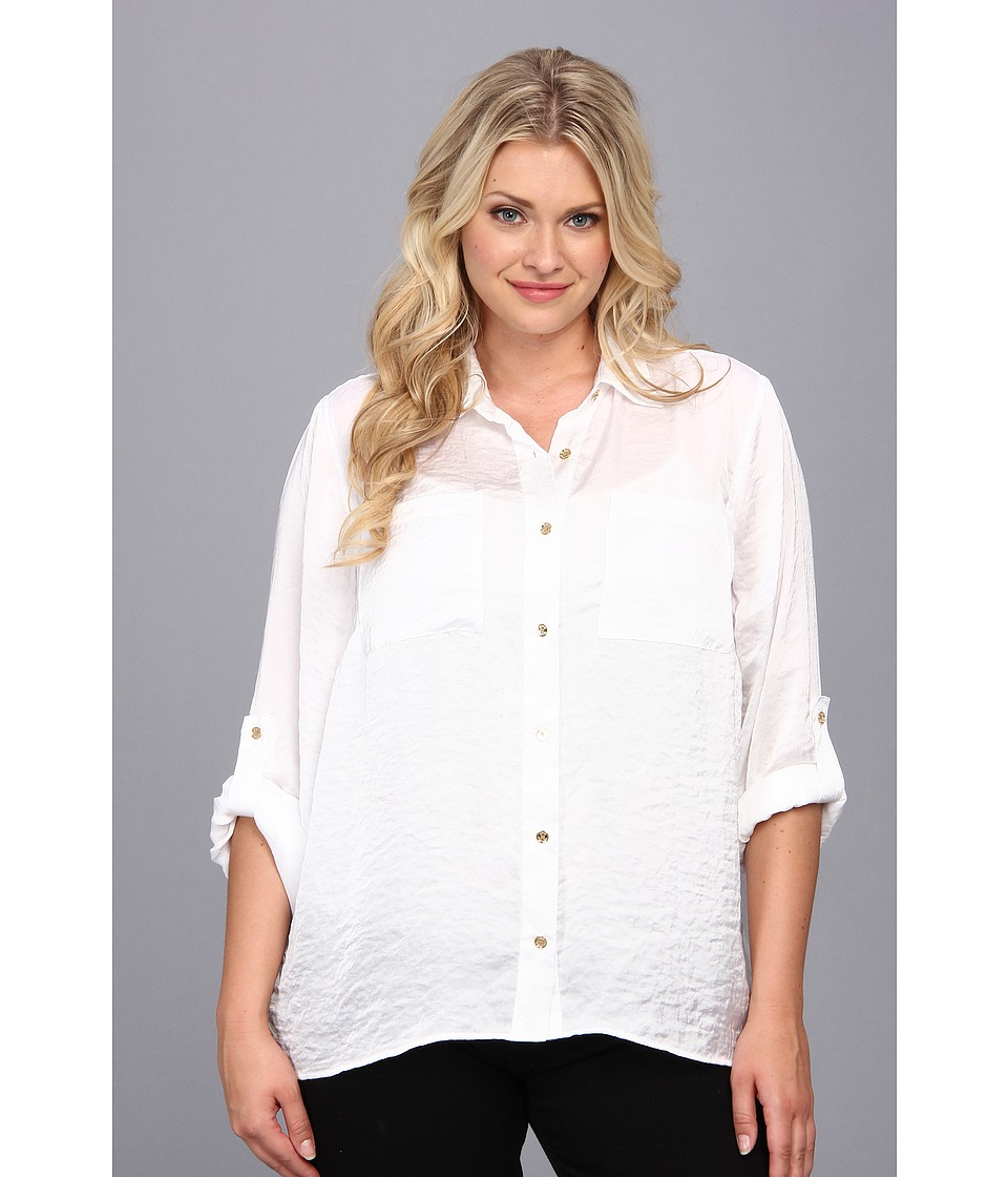 MICHAEL Michael Kors - Plus Size High-Low Button Down Shirt (White) Women's Long Sleeve Button Up