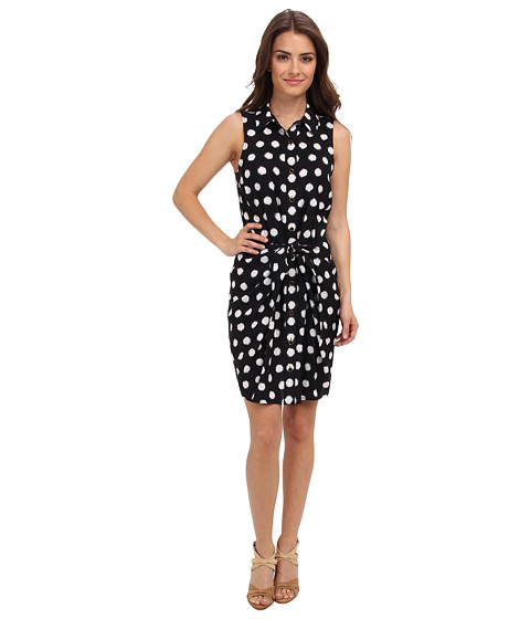 MICHAEL Michael Kors - Petite Spot S/L Knot Shirt Dress (Navy) Women's Dress