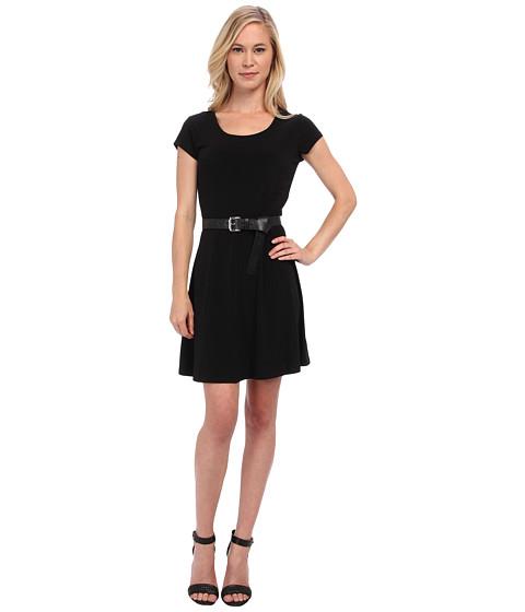 MICHAEL Michael Kors - Petite Cap Sleeve Flare Dress (Black) Women's Dress