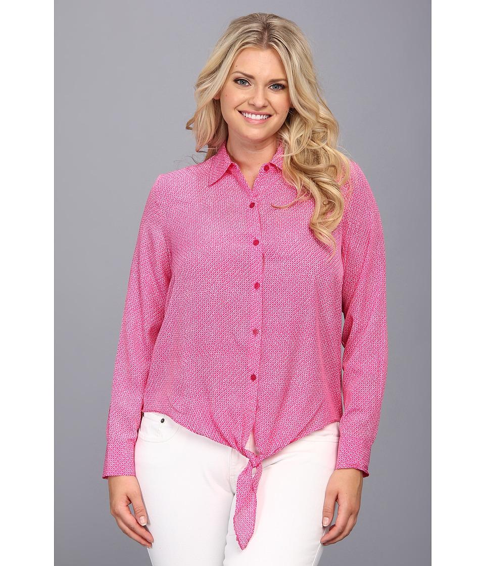 MICHAEL Michael Kors - Plus Size Woven Front Tie Hem Top (Radiant Pink) Women's Clothing