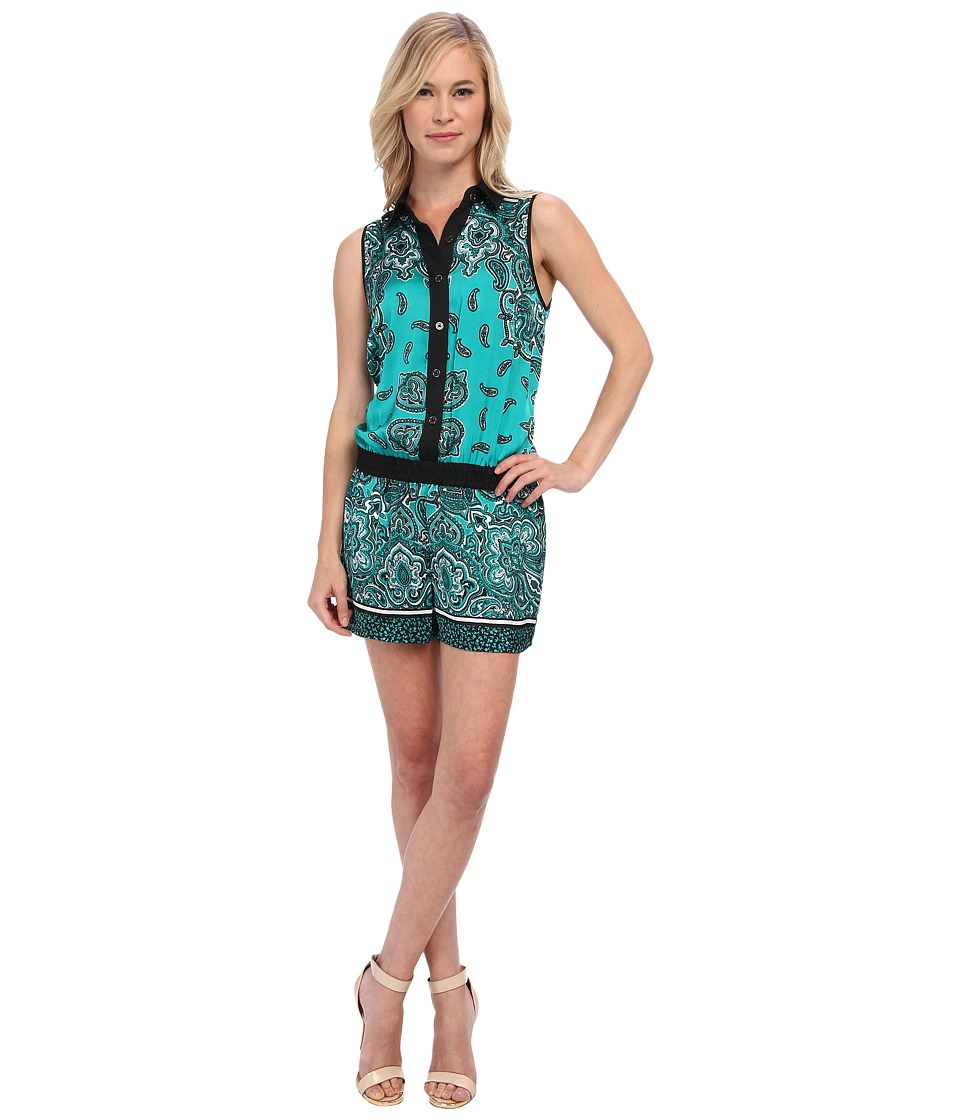 MICHAEL Michael Kors - Petite Paisley Sleeveless Jumper (Island Blue) Women's Jumpsuit & Rompers One Piece