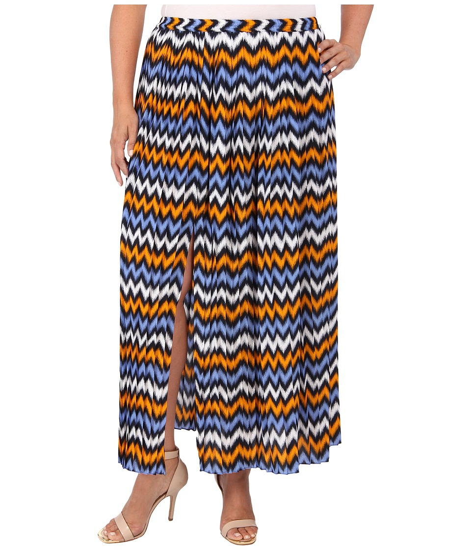MICHAEL Michael Kors - Plus Size Ikat Pleated Maxi Skirt w/ Slit (Vintage Yellow/Oxford Blue) Women's Skirt