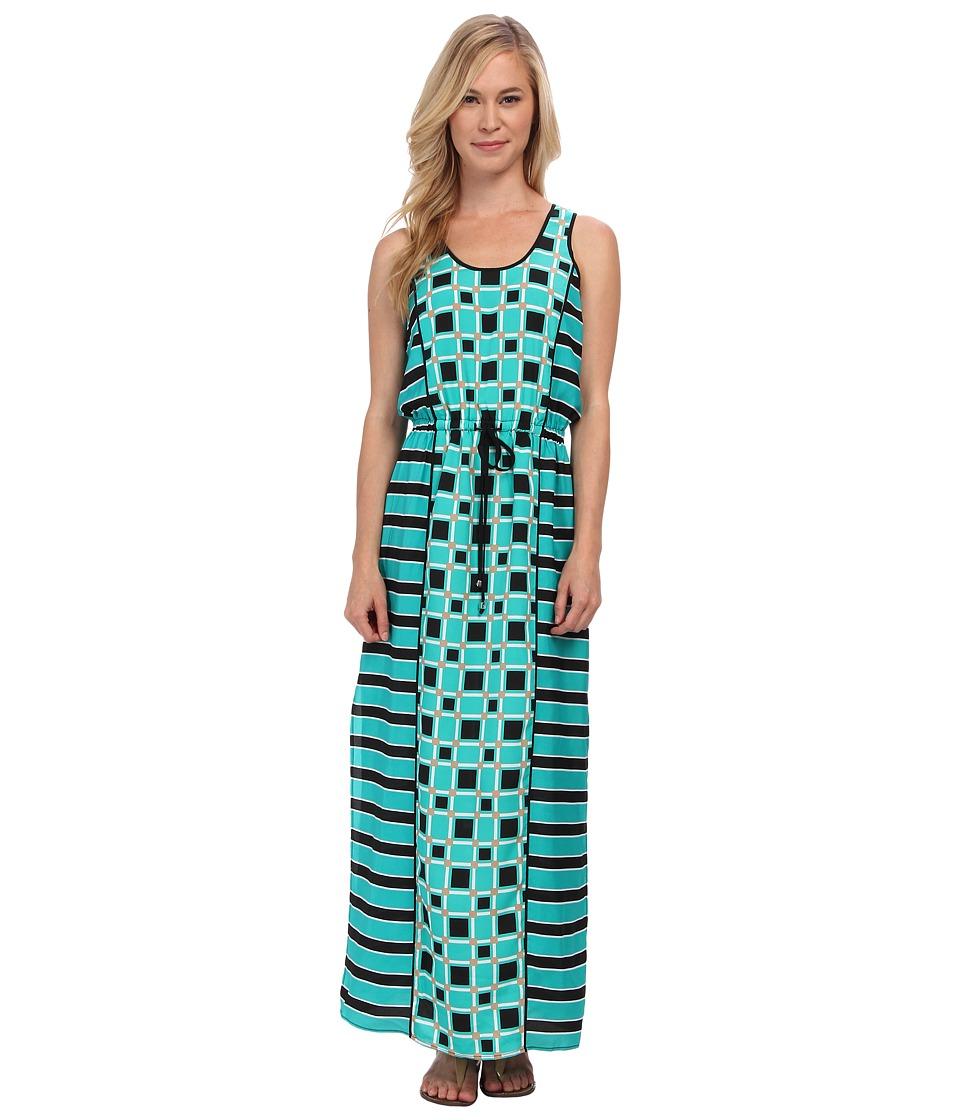 MICHAEL Michael Kors - Petite Soho Square S/L Maxi Dress (Island Blue) Women