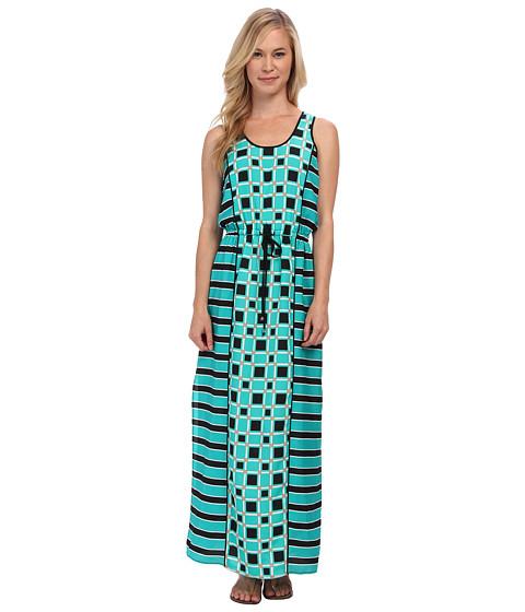 MICHAEL Michael Kors - Petite Soho Square S/L Maxi Dress (Island Blue) Women's Dress