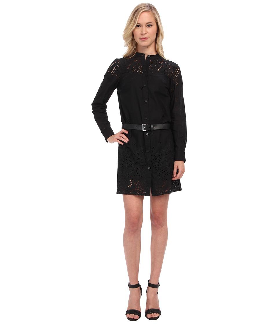 MICHAEL Michael Kors - Petite L/S Button Down Eyelet Dress (Black) Women's Dress
