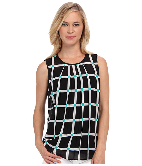 MICHAEL Michael Kors - Petite Ellington Pleat Top (Black) Women's Sleeveless