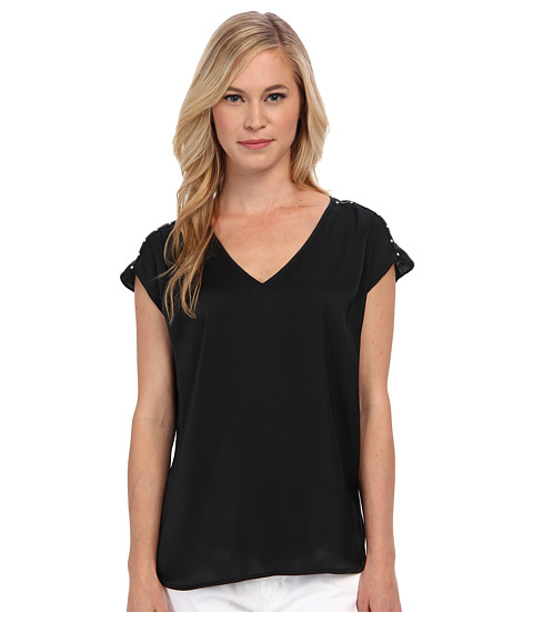 MICHAEL Michael Kors - Petite V-Neck Top w/ Embellished Shoulders (Black) Women's Blouse