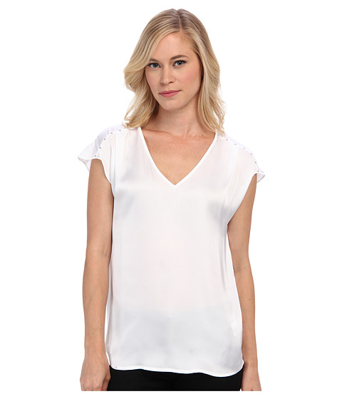 MICHAEL Michael Kors - Petite V-Neck Top w/ Embellished Shoulders (White) Women's Blouse
