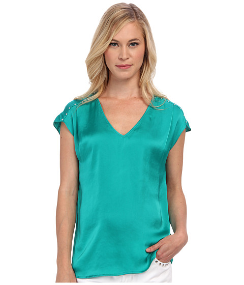 MICHAEL Michael Kors - Petite V-Neck Top w/ Embellished Shoulders (Island Blue) Women's Blouse