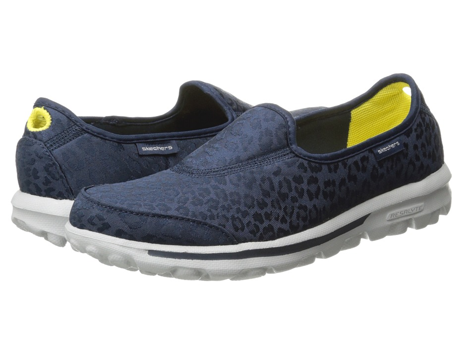 SKECHERS Performance - Go Walk - Safari (Navy) Women's Slip on Shoes