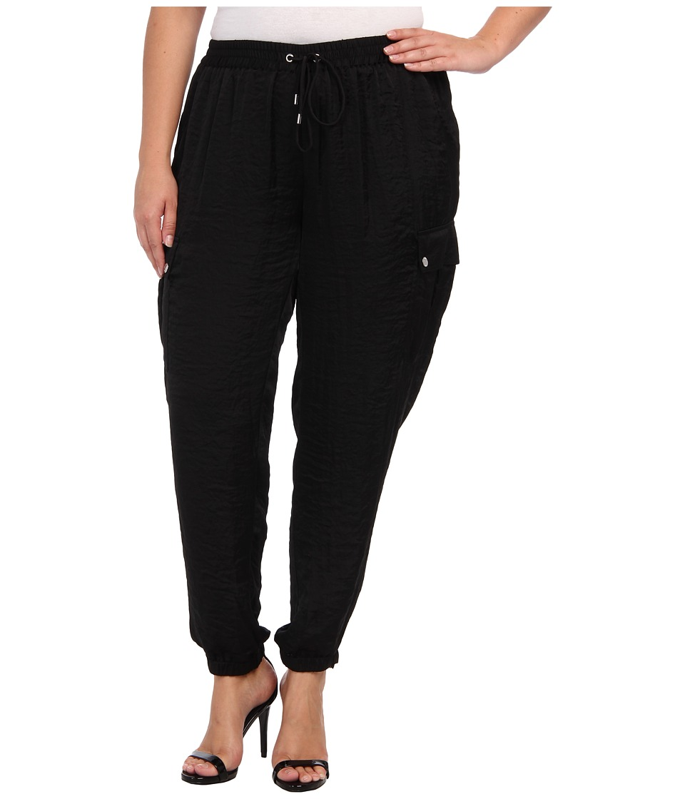 MICHAEL Michael Kors - Plus Size Track Pant w/ Cargo Pocket (Black) Women's Casual Pants