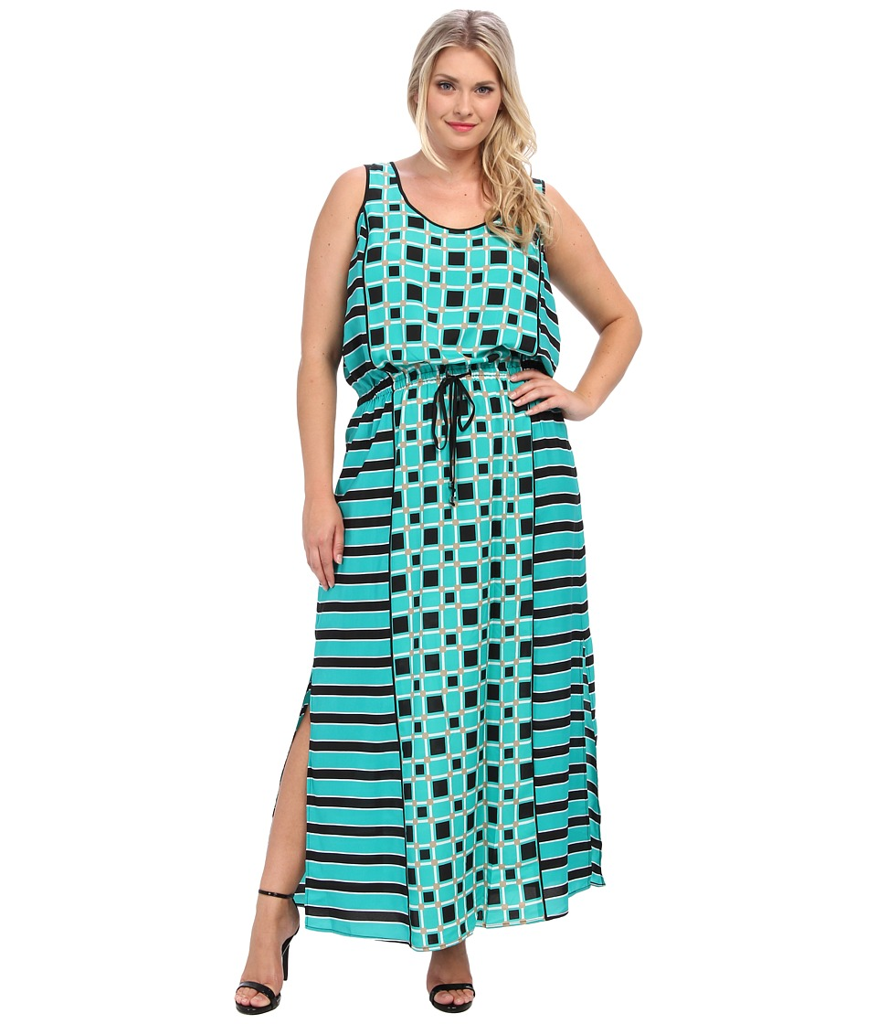 MICHAEL Michael Kors - Plus Size Soho Square S/L Maxi Dress (Island Blue) Women's Dress