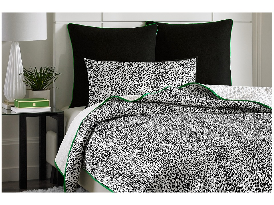 Vince Camuto - Monte Carlo Printed Coverlet - Queen (Black/White) Sheets Bedding