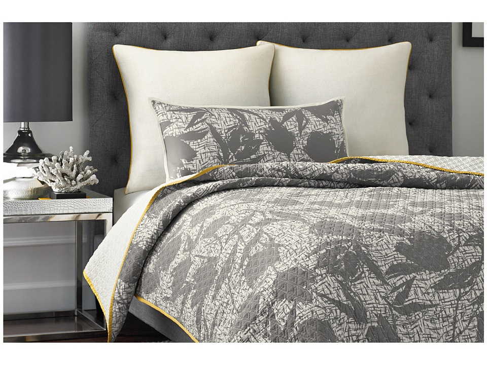 Vince Camuto - Berlin Printed Coverlet - Queen (Gray) Sheets Bedding