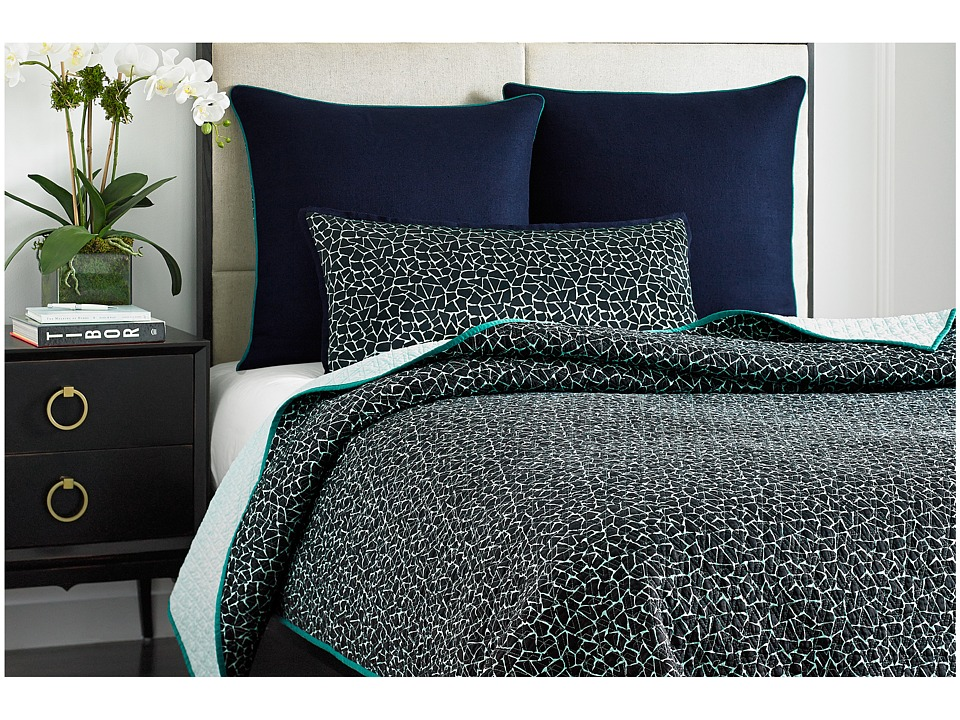 Vince Camuto - Devon Printed Coverlet - King (Blue) Sheets Bedding