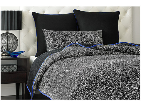 Vince Camuto - Milan Printed Coverlet - Queen (Blue/White) Sheets Bedding