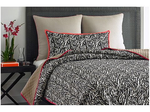 Vince Camuto - Key Biscayne Printed Coverlet - King (Orange/White) Sheets Bedding
