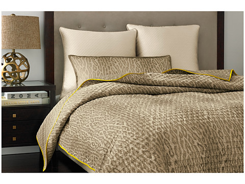 Vince Camuto - Marseille Printed Coverlet - Queen (Gold/White) Sheets Bedding
