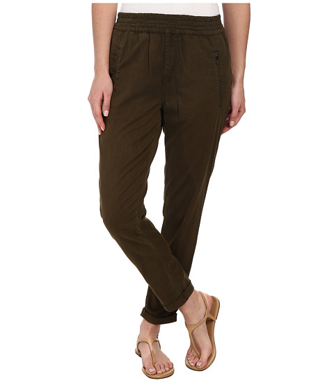 7 For All Mankind - Soft Pant With Cuffed Hem in Olive Enzyme Twill (Olive Enzyme Twill) Women