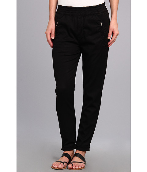 7 For All Mankind - Soft Pant With Cuffed Hem in Black Enzyme Twill (Black Enzyme Twill) Women