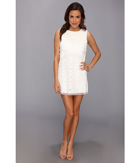 BCBGMAXAZRIA - Amelie Sleeveless Lace Drape Dress (Off White) Women