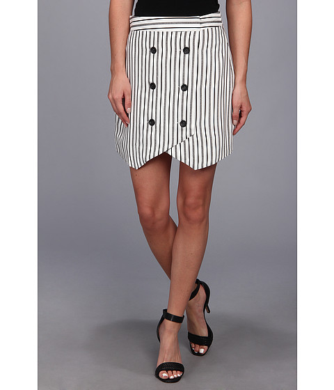 BCBGeneration - Button Front Skirt (Off White Combo) Women