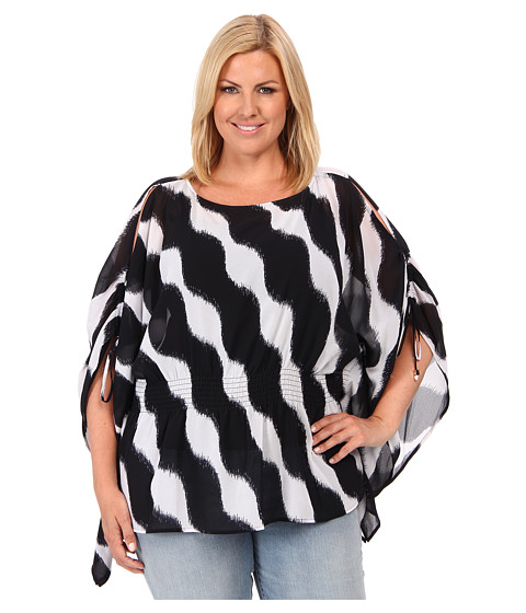 MICHAEL Michael Kors - Plus Size Wave Cold Shoulder Flutter Top (Navy) Women