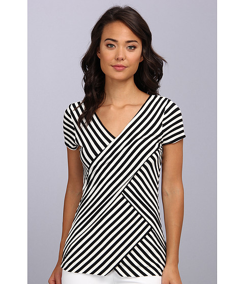 Vince Camuto - S/S Small Tropic Stripe Bandage Top (Rich Black) Women