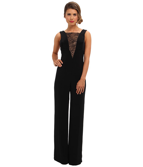 ABS Allen Schwartz - Sleeveless Jumpsuit w/ V Lace Inset (Black) Women