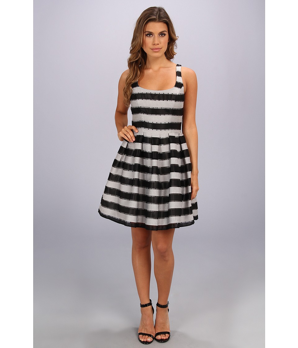 Image of ABS Allen Schwartz - Claire Stripe Dress (Black) Women's Dress