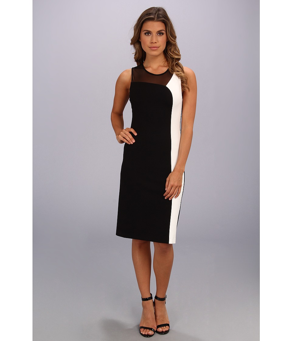 ABS Allen Schwartz - Color Block Ponte and Mesh Sheath Dress (Black) Women's Dress