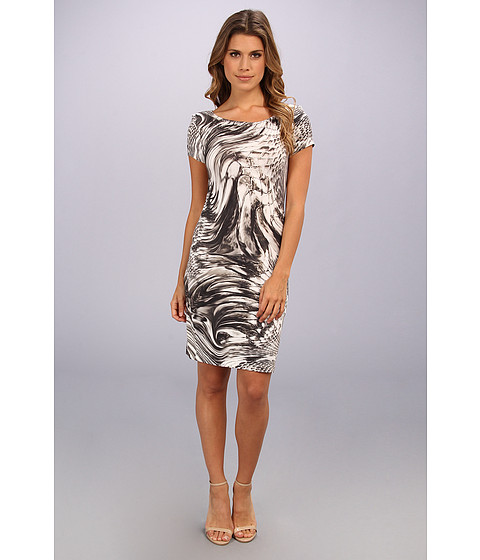 ABS Allen Schwartz - Snakeskin Cap Sleeve Dress (Grey) Women's Dress