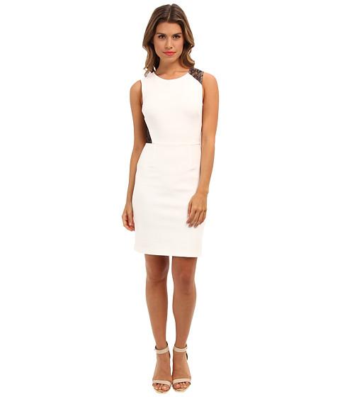 ABS Allen Schwartz - Stretch Woven Sheath w/ Lace Contrast (White) Women's Dress