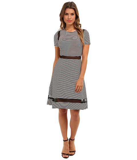 ABS Allen Schwartz - Stripe Jersey w/ Sheer Mesh Insets (Black/Ivory) Women's Dress