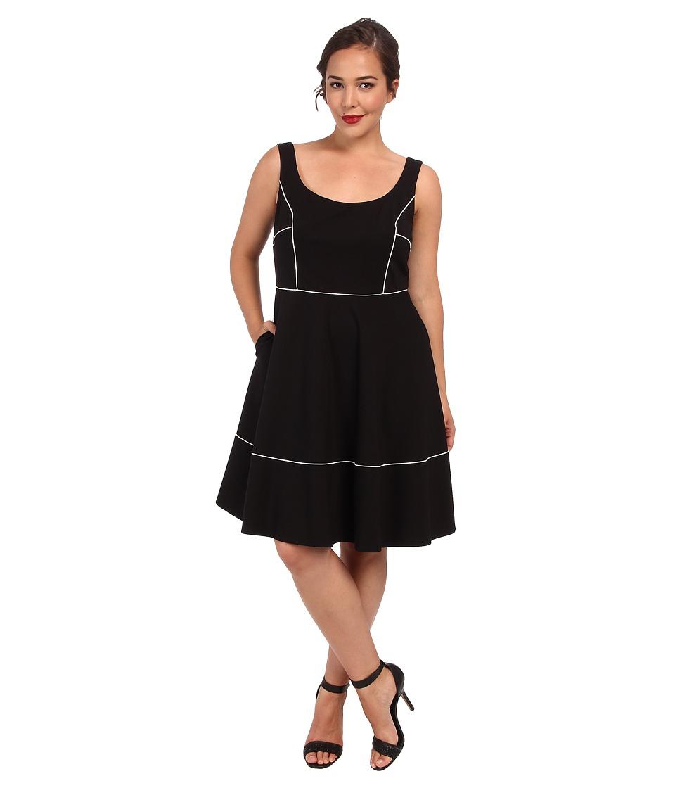 ABS Allen Schwartz - Plus Size Square Neck Ponte Dress w/ Piping (Black) Women