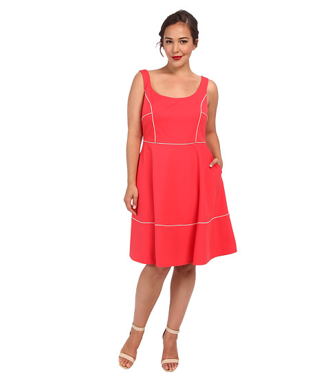 ABS Allen Schwartz - Plus Size Square Neck Ponte Dress w/ Piping (Coral) Women