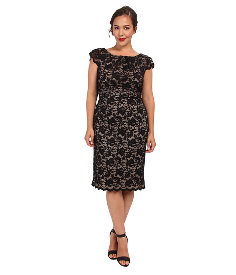 ABS Allen Schwartz - Plus Size Cap Sleeve Lace Dress w/ Exposed Zipper (Black) Women