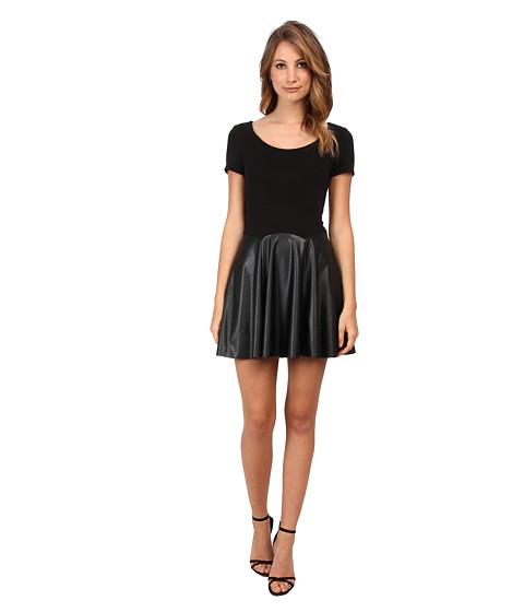 ABS Allen Schwartz - Fit and Flare Dress w/ Vegan Skirt (Black) Women's Dress