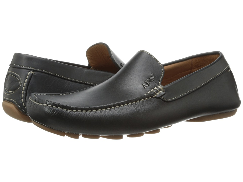 Armani Jeans - Leather Loafer Driver (Black) Men's Shoes