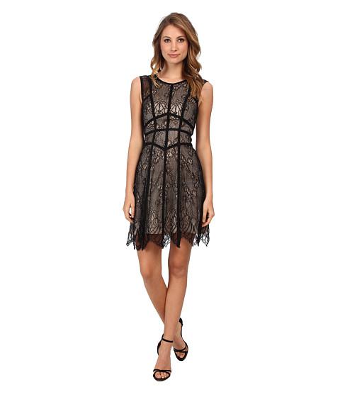 ABS Allen Schwartz - Sleeveless Lace Dress w/ Grosgrain Seams (Black) Women's Dress