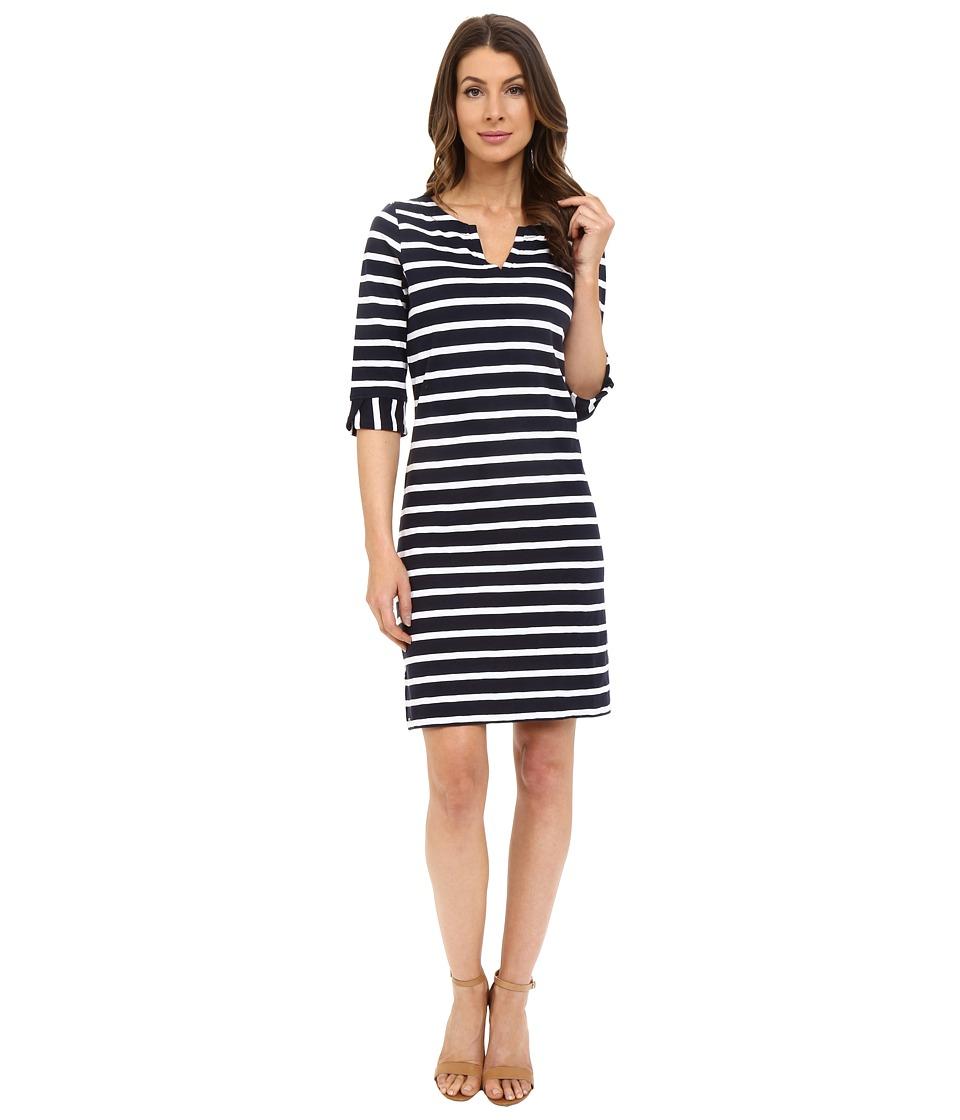 Hatley - Peplum Sleeve Dress (Navy & White Stripes) Women's Dress