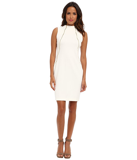 1248143ca99ff9 ... UPC 885719373801 product image for Calvin Klein Zipper Front Ponte  Sheath Dress (Ivory) Women's